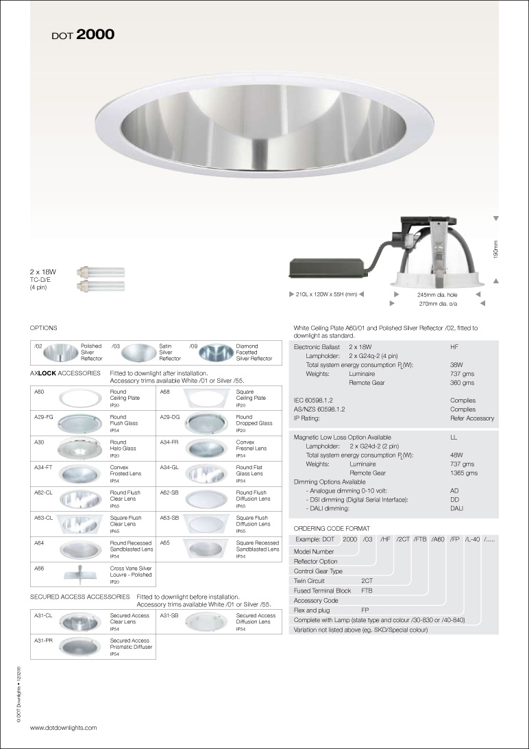 DOT 2000 Downlight Data Sheet