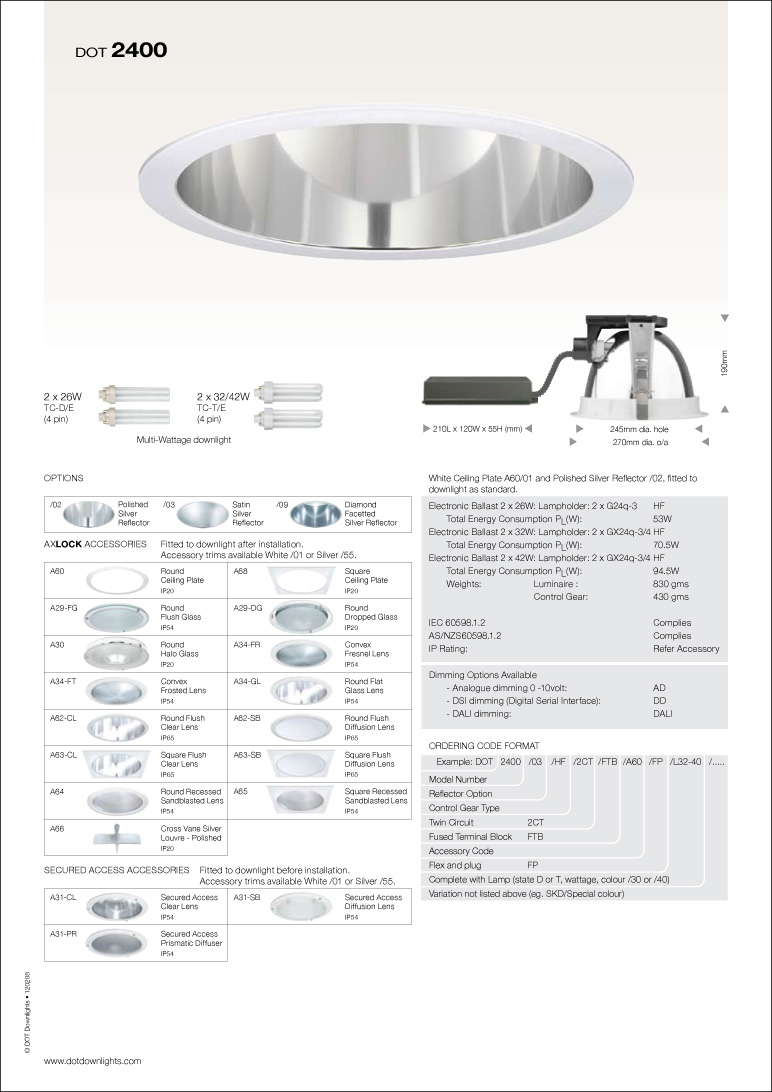 DOT 2400 Downlight Data Sheet