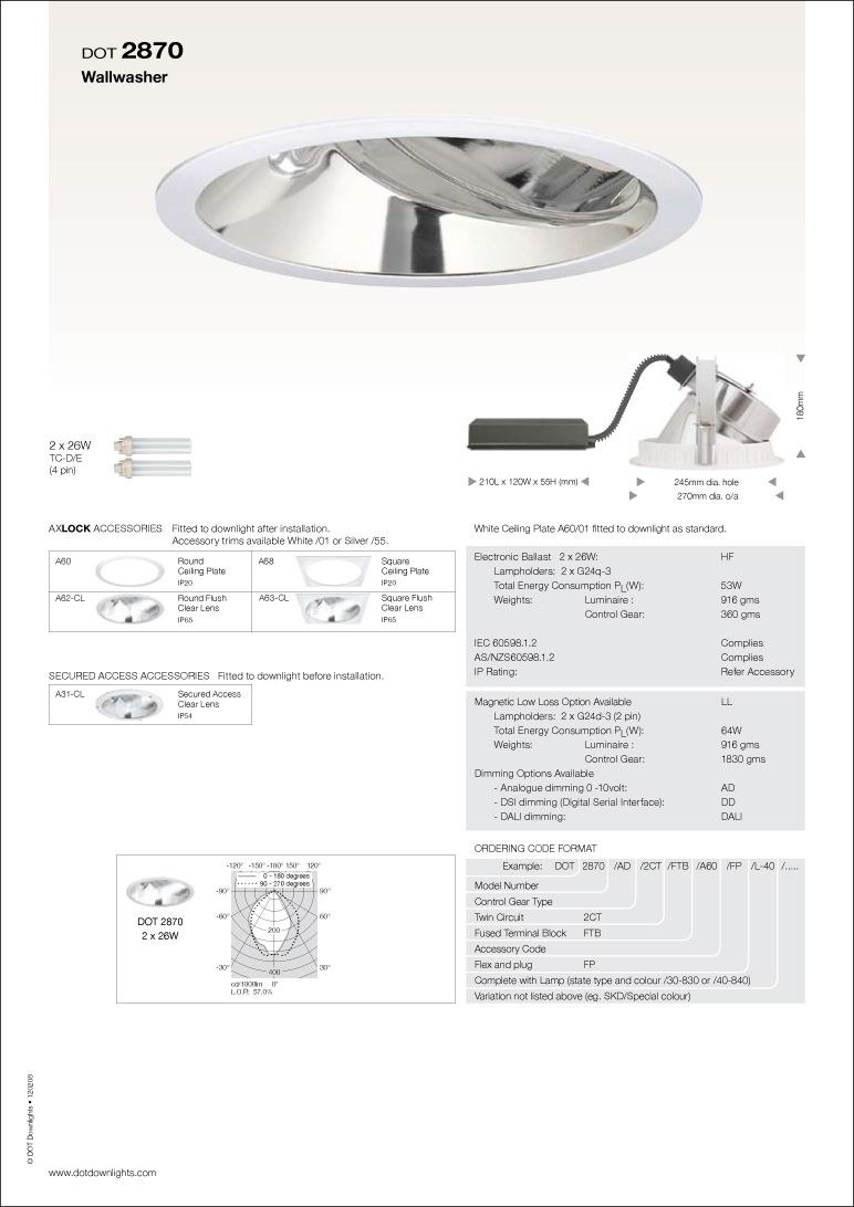 DOT 2870 Downlight Data Sheet
