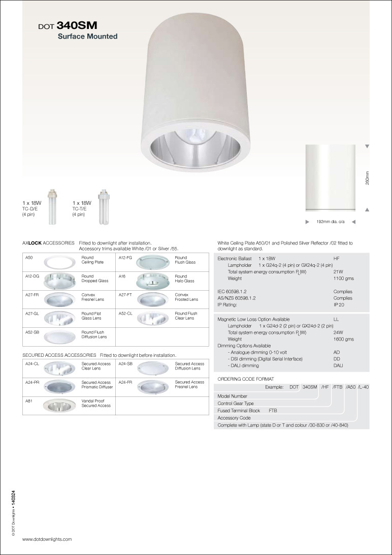 DOT 340 SM Downlight Data Sheet